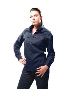 Shirts 175630: Benchmark Fr Women S Navy Long Sleeve Button-Up Work Shirt (1006Frn) -> BUY IT NOW ONLY: $48.99 on eBay!