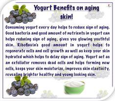 Anti wrinkles face mask helps to eliminate wrinkles and age spots. Yogurt Benefits, Wrinkled Skin, Homemade Yogurt, Aloe Vera Gel, Anti Wrinkle, Serum, Blueberry, Remedies, Skincare