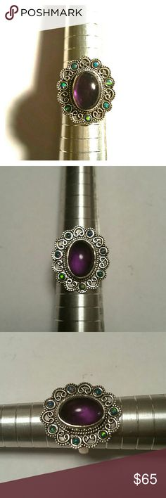 Selling this Amethyst and opal sterling silver ring size 6 on Poshmark! My username is: lekblad. #shopmycloset #poshmark #fashion #shopping #style #forsale #myriad Design #Jewelry