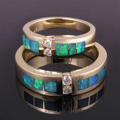 Australian opal wedding ring set in 14k gold with diamonds.