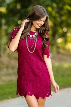 $54 Your Sweet Smile Dress-Wine - Party Dresses - All Dresses | The Red Dress Boutique