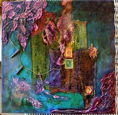 12x12 Mixed Media Art Collage, Purple Prose, by Rebecca Cook SOLD - prints available