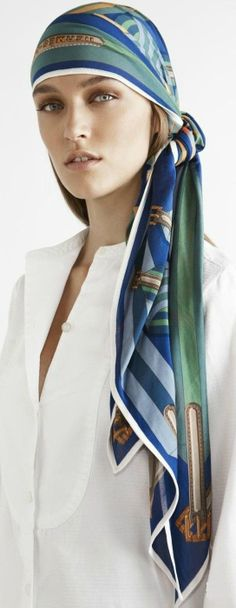 HERMÈS PARIS ~ long scarf or Pareto used as bandanna
