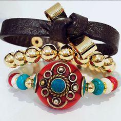 Set By Vila Veloni Multicolor And Leather Bracelets