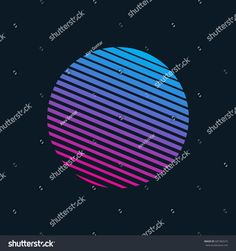 Vector 80s Retro Style Striped Shape. Minimalism Art Illustration   shape, sign, symbol, circle, round, sphere, retro, wave, retrowave, 80s, 90s, 1980, 1980s, style, line, striped, gradient, color, minimalism, icon, banner, logo, transition, laser, sunset, summer, sci, fi, scifi, background, vector, hipster, futurism, future, electro, music, dj, cyber, tech, techno, neon, party, vapor, print, poster, sharp, vibrant, disco, blue, pink