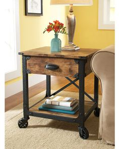 Better Homes and Gardens Rustic Country Side Table, Antiqued Black/Pine from Walmart. Matches our tv stand