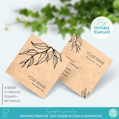 DIY Square Business Card Template Editable Floral Business | Etsy Square Business Cards, Unique Business Cards, Business Card Size, Business Card Holders, Business Card Design, Square Card, Custom Fonts, Card Templates, Card Sizes