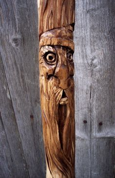 """Walking stick with Hand Carved Wood Spirit - 60"""" Collectors Wood Hiking staff. $69.00, via Etsy."""