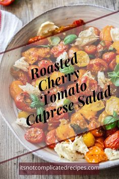 Roasted Cherry Tomato Caprese Salad is certain to become a favourite. It is light, full of flavour and so easy to make. Serve it as an appetiser or side dish. Spinach Salad Recipes, Chicken Salad Recipes, Asparagus Salad, Shrimp Salad, Broccoli Salad, Tomato Caprese, Caprese Salad, Egg Salad, Fruit Salad