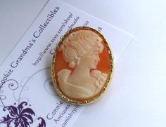 Antique Hand Carved Shell PORTRAIT CAMEO In 14K by CookieGrandma60, $675.00