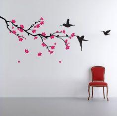 décorer le salon de stickers muraux branchette fleurie et colibris