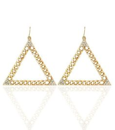 Trendy Gold Triangle Chain Style Dangle Earrings with Rhinestones Fashion Statement Jewelry