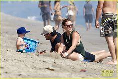 Hilary Duff, Mike Comrie at Malibu Beach with Luca