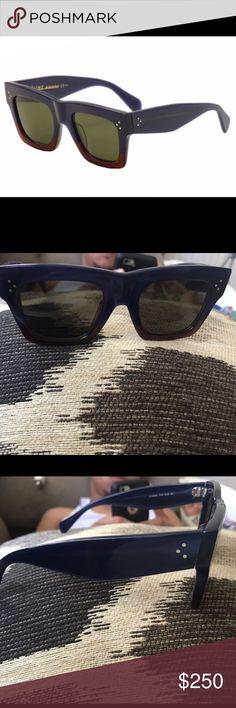 Céline Blue/Burgundy Wayfarer Sunglasses 50mm Céline women's glasses. Hardly worn. Celine Accessories Glasses