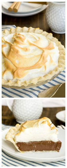 Chocolate Meringue Pie Old-fashioned Chocolate Meringue Pie - just like grandmother made!Old-fashioned Chocolate Meringue Pie - just like grandmother made! 13 Desserts, Delicious Desserts, Dessert Recipes, Yummy Food, Pie Recipes, Plated Desserts, Healthy Desserts, Recipies, Chocolate Meringue Pie