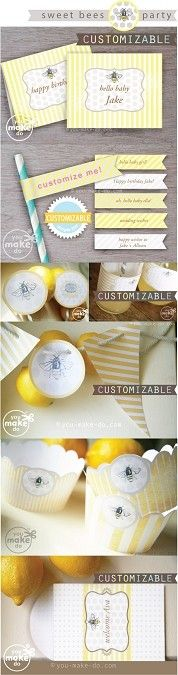 Instant download CUSTOMIZABLE bee party printables + bee party theme ideas to celebrate a bee baby shower, bee birthday or bee wedding shower! Customizable bee party place cards, customizable straw toppers, customizable bee party banner, sweet bee cupcake wrappers, pinwheels, bee party favors, and more sweetness to make for your next party.