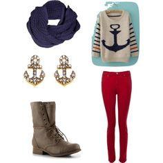 cozy anchor outfit (: - Polyvore