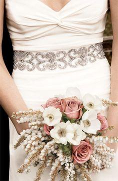 Beautiful bridal belt + bouquet