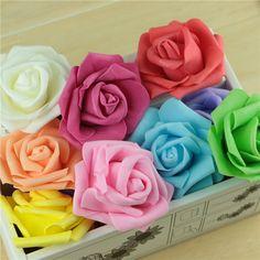 10pcs/lot Handmade DIY Artificial Flower Pe Rose Home Wedding Car/ Box Decoration white ivory royal blue around 6.5cm