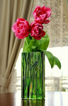 Hand Painted Flowers vase Green glass vase Square stain | Etsy Flowers Vase, Painted Flowers, Transparent Glass Paint, Eco Friendly House, Decorating Your Home, House Warming, Stained Glass, Glass Vase, Hand Painted
