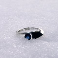 Blue sapphire ring sterling silver real natural sapphire by Menno, $395.00