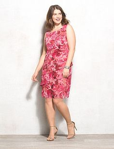 Plus Size Abstract Floral Tiered Dress