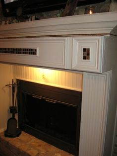 custom fireplace mantel with storage for media components   Our ...