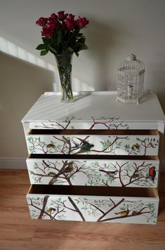 Up cycled Chest of Drawers Shabby Chic Hand painted Furniture Bespoke Unique Freehand Tree Decoupaged Birds From Reloved Vintage Furniture
