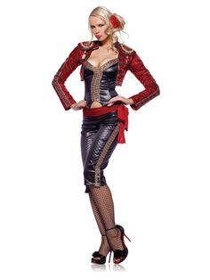 3pc Miss Matador costume includes bustier pants with attached sash and jacket