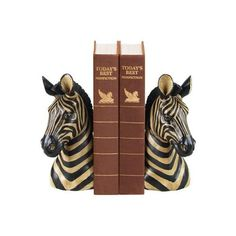 """Sterling Publishing Home Pair of Zebra Bookends, Tall, 8"""" ($69) ❤ liked on Polyvore featuring animals, bookends, books and home"""