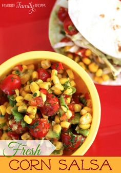 Fresh Corn Salsa - I love this corn salsa with fish tacos, but it also tastes great with tortilla chips! Don't try to make this with frozen corn or canned corn.. it won't taste NEAR as good. Hurry and get some good corn before it is completely out of season!