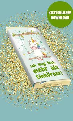 """Einhorn-Schokolade für ALLE! Hier findest Du eine kostenlose Vorlage für dieses süße Einhorn-Motiv mit und ohne Text """"Ich mag Dich mehr als Einhörner"""""""