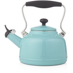 Crate & Barrel Vintage Aqua Steel Enamel Tea Kettle (67 CAD) ❤ liked on Polyvore featuring home, kitchen & dining, cookware, kitchen, fillers, home decor, vintage enamel cookware, steel kettle, steel cookware and enamel coated cookware