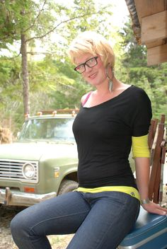 Chartreuse and Black Off the Shoulder Tunic by coralanidesigns, $58.00