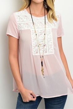 Sweet and dainty sheer pink blouse with delicate lace detail with dress up any skirt in your closet. Button detail on sleeve adds a little more interest to an already irresistible top. Easy and breezy Lemon Clothing, Girls Night Out, Clothing Company, Pink Lace, Refashion, Dress Me Up, Pink Tops, Everyday Fashion, Tunic Tops