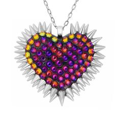 'Xirius' Spiked & Pavèd Heart Necklace in Volcano