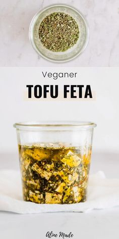 An easy recipe for the most delicious vegan feta cheese ever! This Tofu Feta is bursting with flavor and an excellent dairy-free alternative to the original Greek Cheese! Vegan Dinner Recipes, Dairy Free Recipes, Whole Food Recipes, Vegetarian Recipes, Healthy Recipes, Recipes For Tofu, Vegan Feta Cheese, Feta Cheese Recipes, Vegan Cream Cheese Recipe Tofu