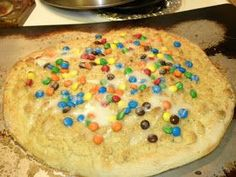 Godfathers m&m streusel dessert pizza!! Best dessert pizza ever!