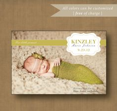 Printable Newborn Baby Birth Announcement - DIY printable  - 4 x 6 - Custom Colors. $14.00, via Etsy.