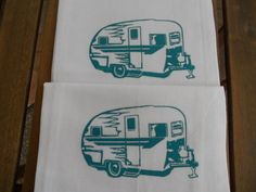 Camper Trailer Flour Sack TEA TOWELS - Set of Two - Screen Printed Kitchen Towels