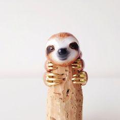 daintyme Enamel Sloth Ring Set by DAINTYmeBOUTIQUE on Etsy