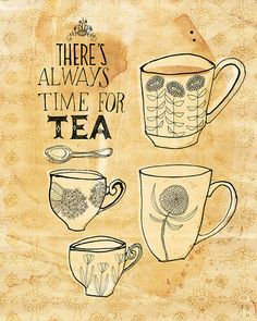 Always time for tea art print  Small and por lovelysweetwilliam