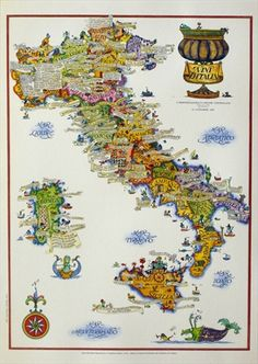 This vintage map of Italy's famous food regions would brighten any kitchen - and make you hungry! Vintage European Posters at vepca.com