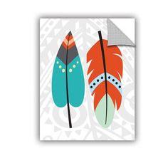 """ArtWall Tribal Owl I Wall Mural Size: 48"""" H x 36"""" W x 0.1"""" D"""