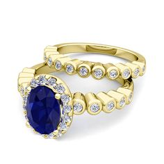 Halo Bridal Set: Bezel Diamond and Sapphire Wedding Ring Set in 18k Gold, 8x6mm. This 18k gold halo engagement wedding bridal set from My Love Wedding Ring showcases a 8x6mm oval blue sapphire ring and a matching bezel set diamond wedding band.