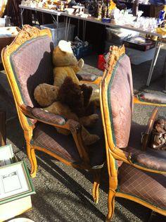 Antique teddies sitting regally at Sunbury Antique Fair Kempton