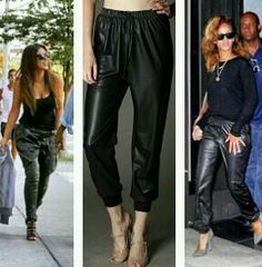 Super Hot and Trendy  faux leather jogging pants  no side pockets  pull on style with wide elasticized waist and non functional drawstring  great for any casual events, dinner parties, meeting friends, movies etc  great for dinner parties, movies etc looking hot and sexy!!  Get yours...