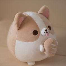 Incredibly soft and huggable plushie provides a skin friendly comfortable cuddly feel Informations About Corgi Bread Baker Plushie Pin You can easily us Cute Stuffed Animals, Cute Animals, Cute Sticker, Kawaii Room, Cute Pillows, Cute Plush, Cute Toys, Kawaii Clothes, Plushies