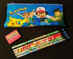 90s pokémon pencil case w/ unused pencils & eraser - rare pokemon collectible from $5.0