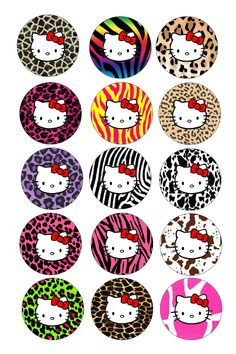 Hello Kitty Animal Print 15 Precut Bottle cap  diecut hairbow images Bottle Cap Art, Bottle Cap Crafts, Bottle Cap Images, Hello Kitty Birthday, Unicorn Birthday Parties, Cat Crafts, Crafts For Kids, Images Hello Kitty, Hello Kitty Crafts